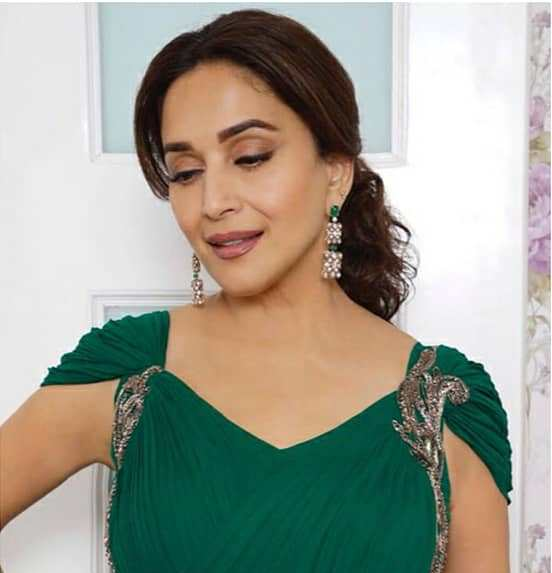 Madhuri Dixit Looks Stunning in This Green Sari Look
