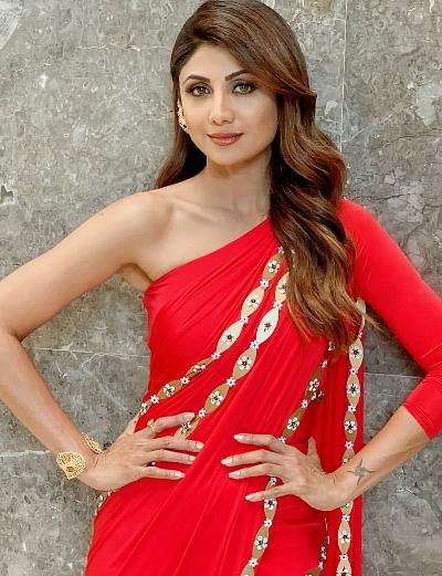 Shilpa Shetty in a Red Sari by Shivan and Narresh