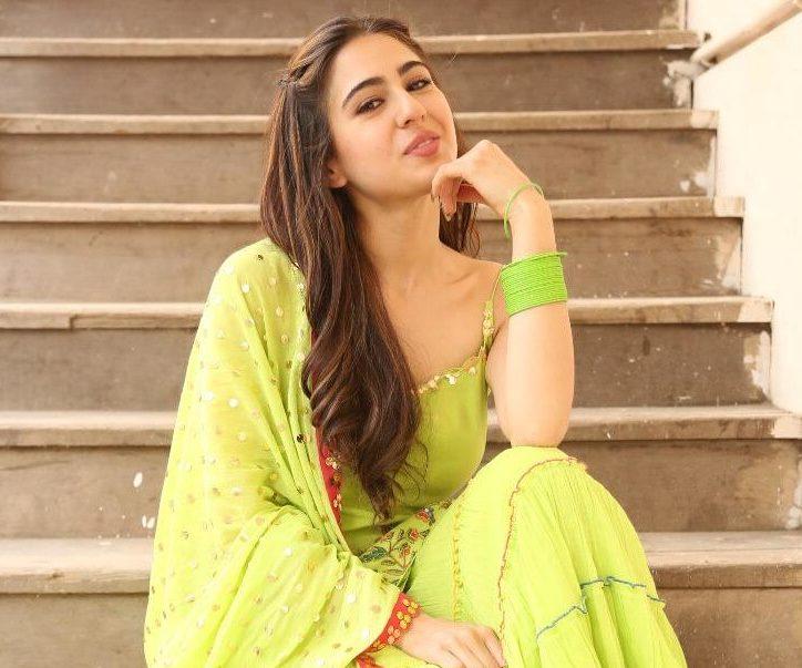 Sara Ali Khan Looks Stunning in This Green Kurta and Sharara