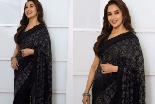 Madhuri Dixit Sizzles in This Black Sari from Jade by MK